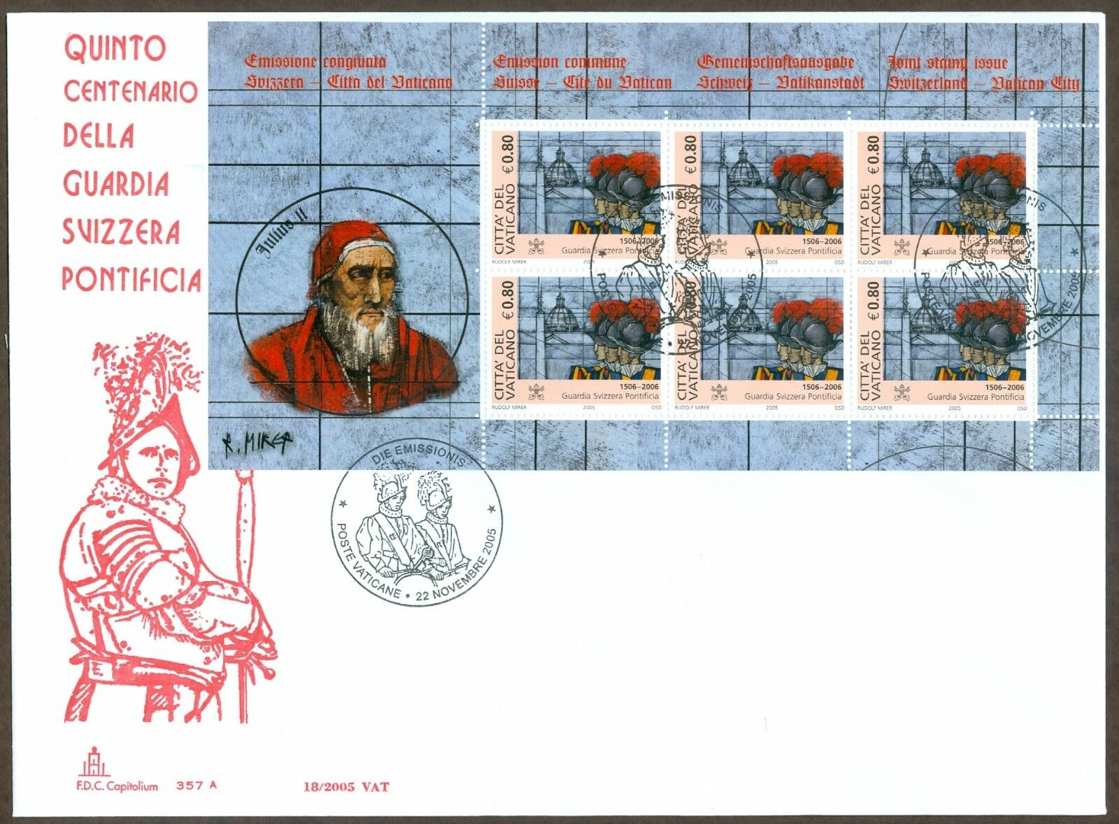 Vatican City - Scott #1316 (2005) first day cover with miniature sheet of six