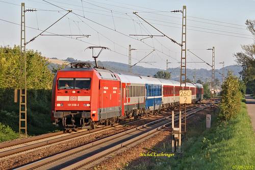 BR 101 036-2 Train 50472 Bâle-Minsk-Moscou à Eimeldingen