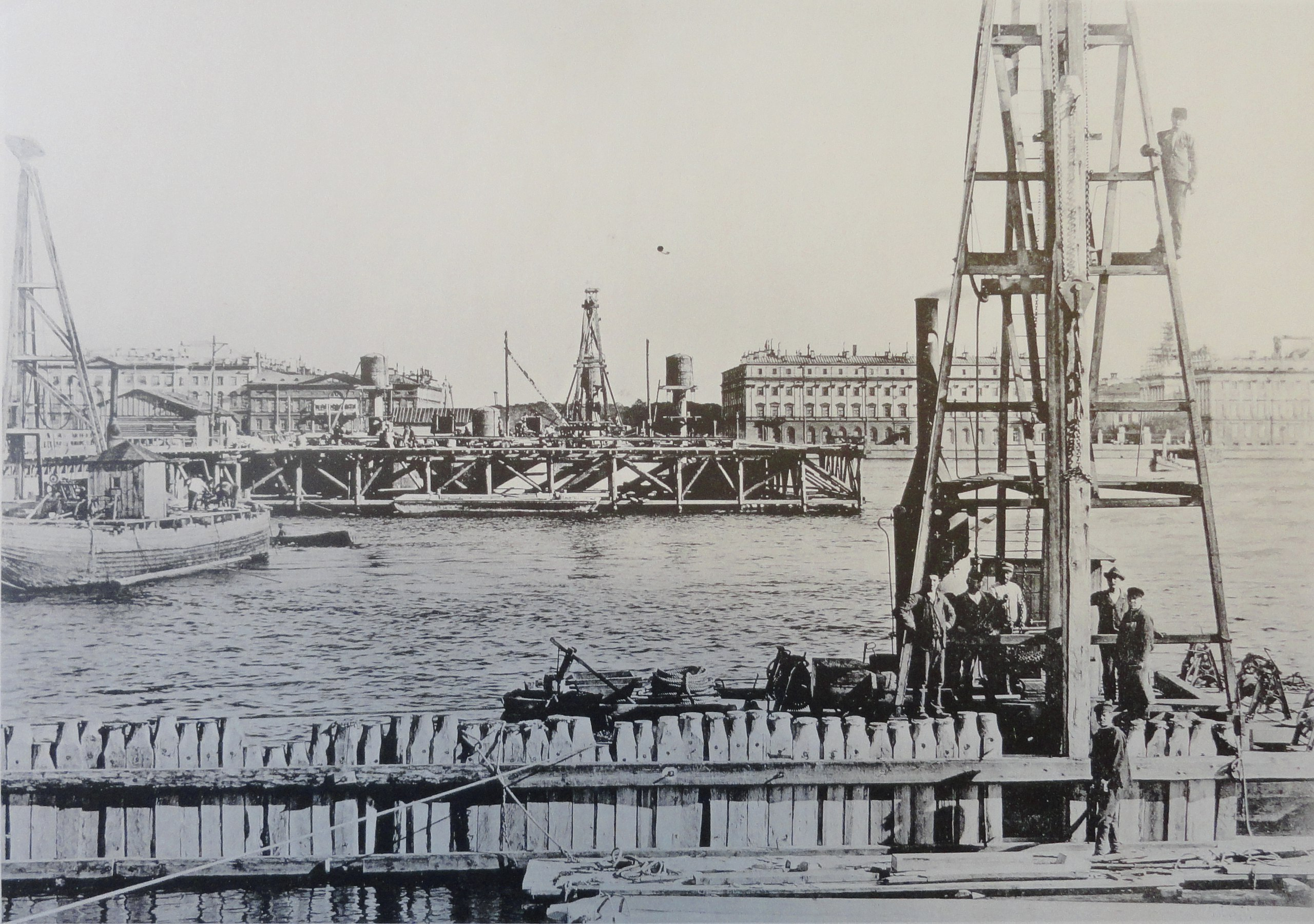 1899. Забивка шпунтовой перемычки быка №6. Лето