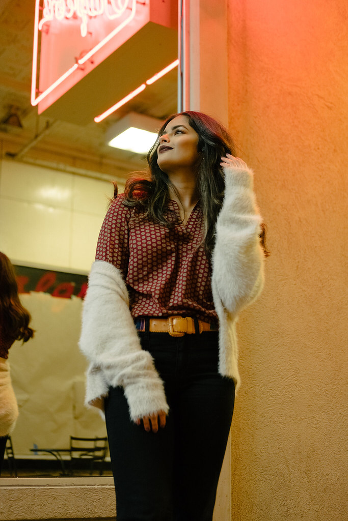 Priya the Blog, Nashville fashion blog, Nashville fashion blogger, Nashville style blog, Nashville style blogger, Nashville Arcade, winter outfit, Madewell Flea Market Flares, how to wear flare jeans, bell sleeve blouse, 70's inspired outfit, fuzzy cardigan, how to style a fuzzy cardigan, Wet n Wild Liquid Catsuit Video Vixen, vintage embroidered belt, how to style a bell-sleeve blouse, how to wear flared jeans, black Madewell Flea Market Flares