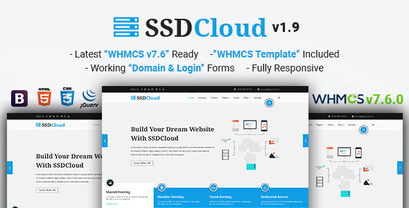 SSDCloud v1.9 - Multipurpose Hosting with WHMCS and Technology Business Template