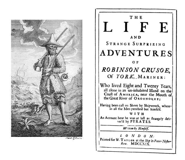 Title page of the 1st edition of Robinson Crusoe by Daniel Defoe (London: W. Taylor, 1719).