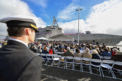 SAN FRANCISCO (Feb. 16, 2019) Guests listen during a welcoming speech for the commissioning ceremony of littoral combat ship USS Tulsa (LCS 16). LCS 16 is the fifteenth littoral combat ship to enter the fleet and the eighth of the Independence variant. It is the second Navy combat ship named after Tulsa, the second largest city in Oklahoma. (U.S. Navy photo by Mass Communication Specialist 1st Class Jacob I. Allison)