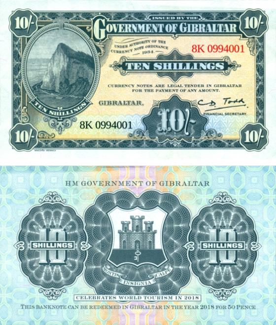 GIBRALTAR 10 Shillings 1934 (2018)