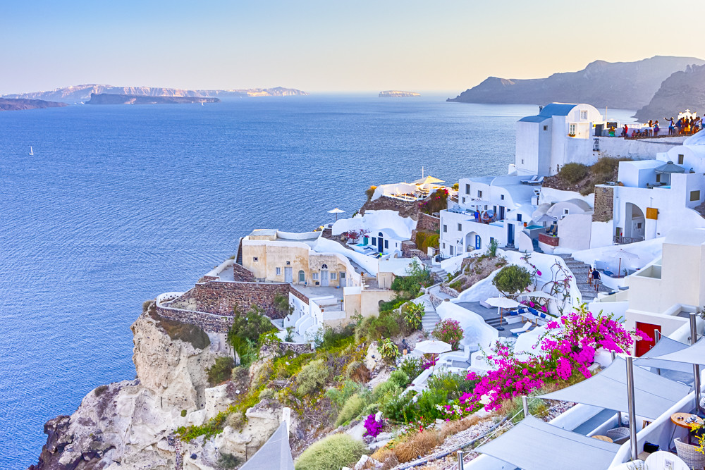 Travel Destinations. Picturesque Breathtaking View of Caldera Volcanic Slope of Oia Village in Santorini Island in Greece