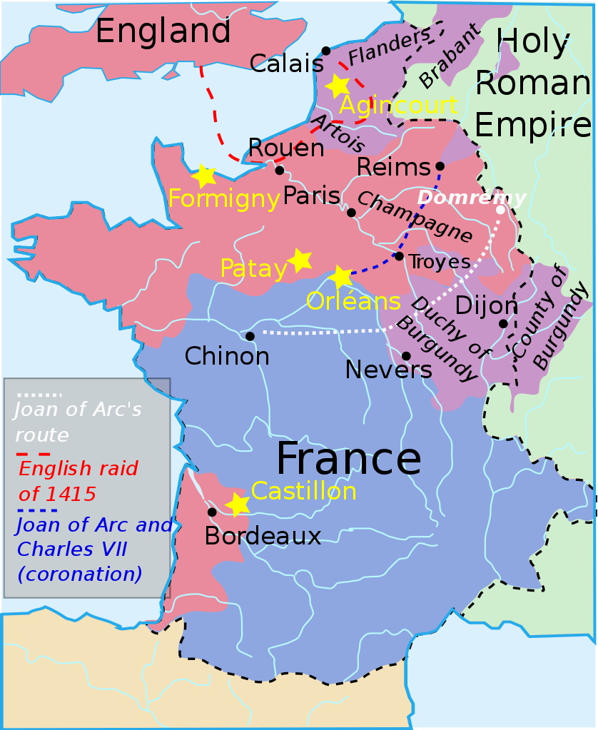 Map of France during the Hundred Years War, around the time of the Treaty of Troyes signed on May 21, 1420.
