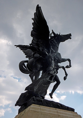 A statue of a winged horse is part of the Neo-Classical exterior of Palacio of Bellas Artes in Mexico City