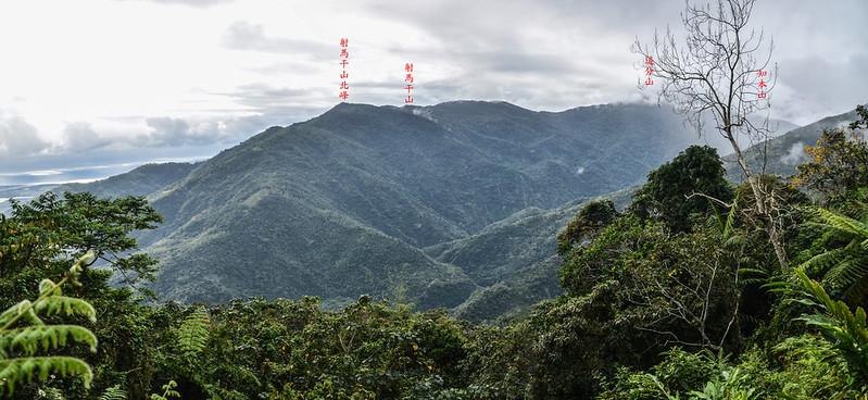 戶張山產道(H 730 m)南眺群山 1-1