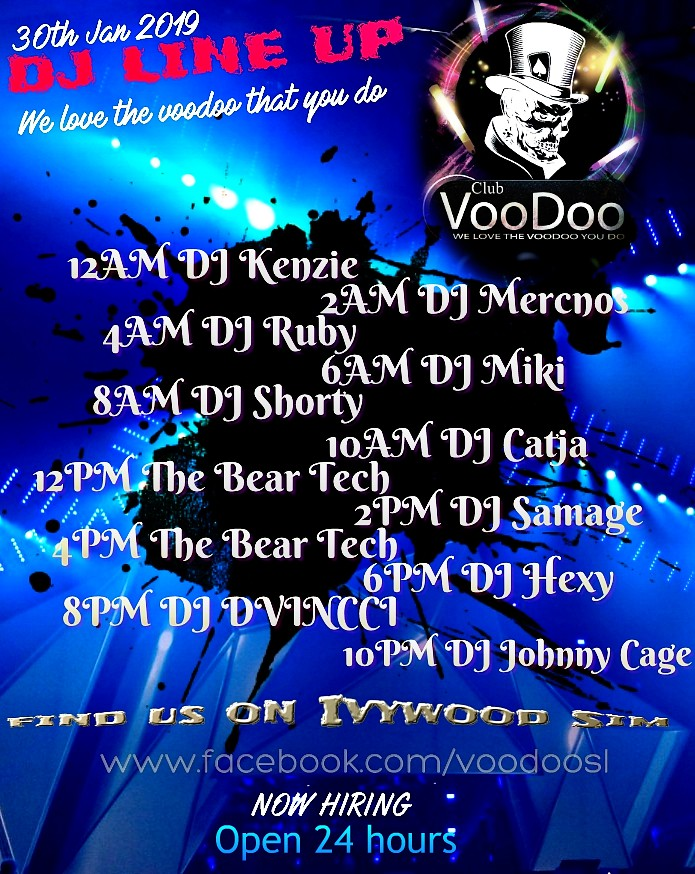 Club Voodoo wed 30th Jan DJ line up