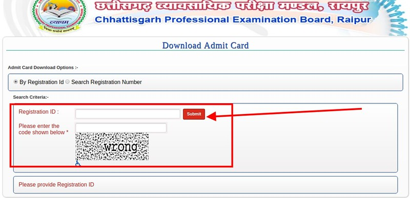 CG TET Admit Card 2019 - Login Page