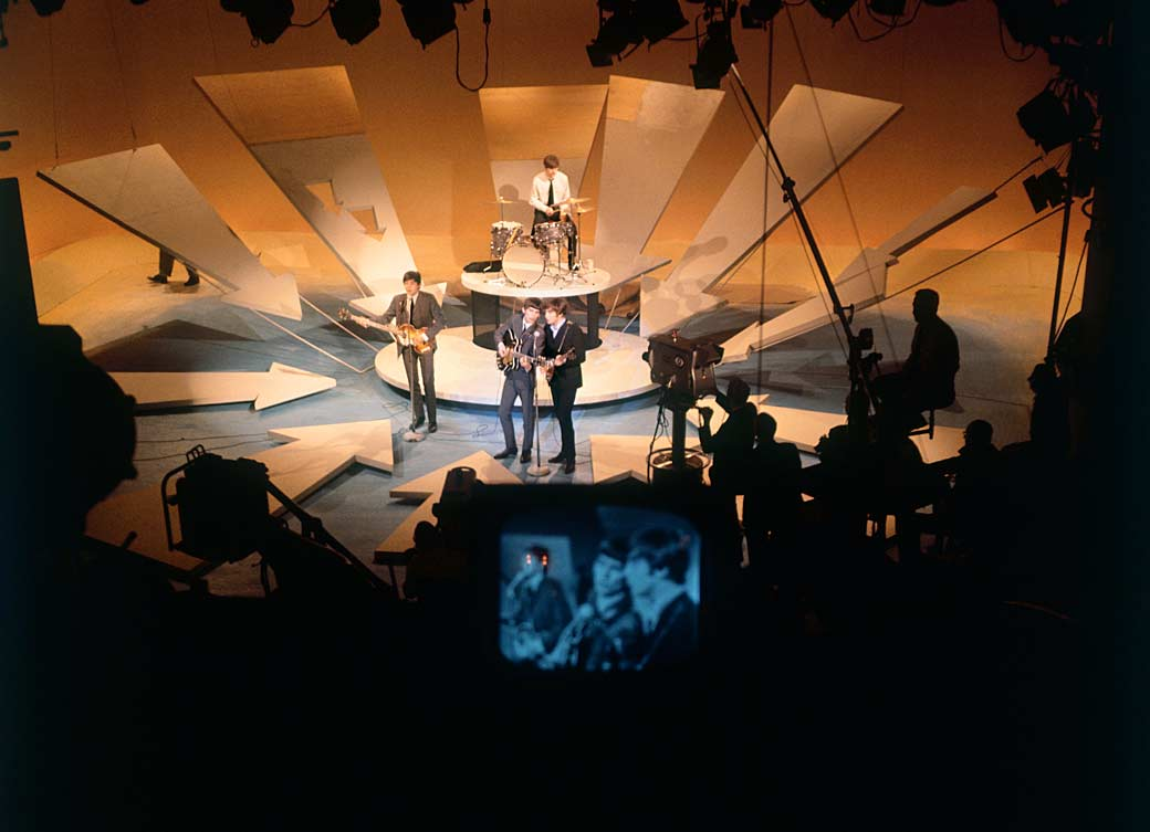 The Beatles perform on The Ed Sullivan Show, February 9, 1964.