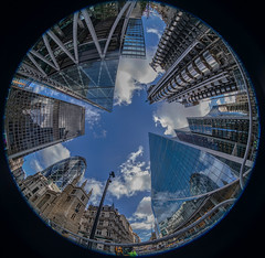 Image by NoVice87 (92110231@N03) and image name Looking Up.... photo  about Not everyone's cup of tea but this is a fish-eye view of the buildings in the City of  London including Lloyd's Building and the  Gherkin.