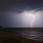 21. Märts 2012 - 20:04 - A lightning strike illuminates a storm front moving across Lake Michigan.