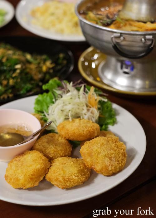Prawn cakes at Baan Khao Lak Seafood Restaurant in Thailand