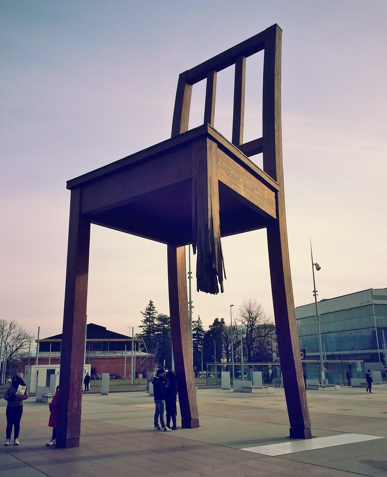 16-01-28 (Geneva) Broken chair sculpture.