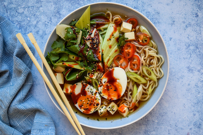 Slow Cooker Ramen with a Soft Boiled Egg and Silken Tofu