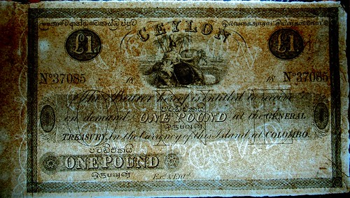 1850 Ceylon pound sterling note watermark