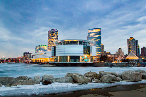 Twilight Icy Milwaukee Lakefront Skyline
