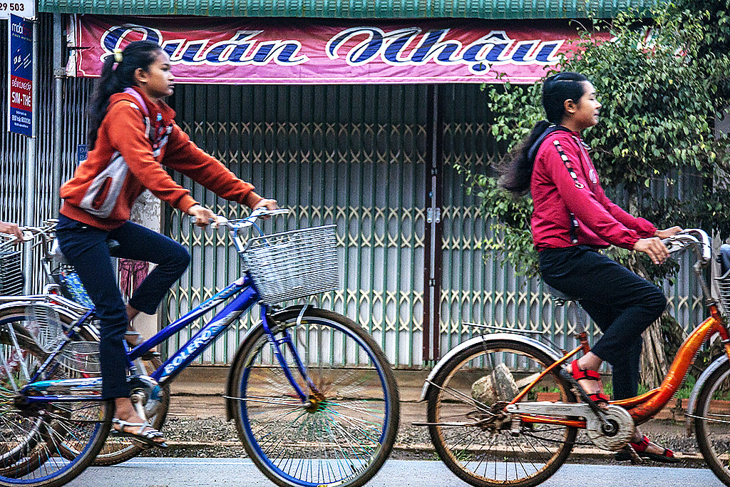 Two girls on bicycles on 1-19-19--Ea Kly