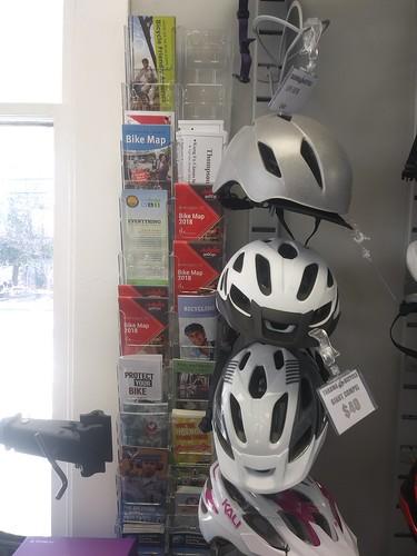 Bicycle map information rack, Takoma Bicycle Shop, Takoma Park, Maryland