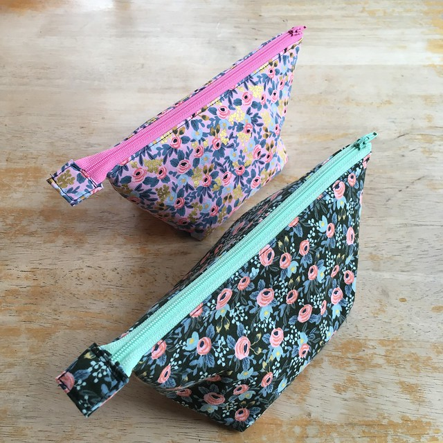 Open Wide Zippered Pouch in Rifle Paper Co. Rosa