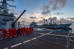 USS Gravely (DDG 107) conducts a replenishment-at-sea with the German navy replenishment tanker FGS Spessart (A 1442).