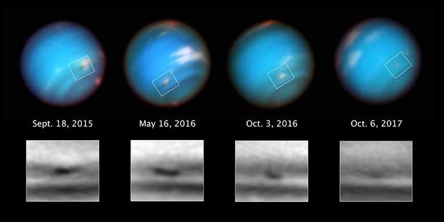 VCSE - A Neptunusz egyik évekig létező vihara látható négy különböző epochánál készült HST-felvételen a fehér négyszögeken belül. A korábbi számítógépes szimulációk szerint a viharnak az egyenlítő felé kellene lassan elmozdulnia, és az egyenlítőnél felbomlania és sok kis apró felhőre szétesnie. Ehelyett e megfigyelések azt mutatták, hogy a vihar a déli pólus felé vándorolt, és hirtelen szétesés helyett szimplán elhalványodott. A vihar 2015-ben 5000 km, 2017-ben már mindössze csak 2300 km hosszú volt. - Forrás: © M.H. Wong and A.I. Hsu (UC Berkeley)/NASA/ESA
