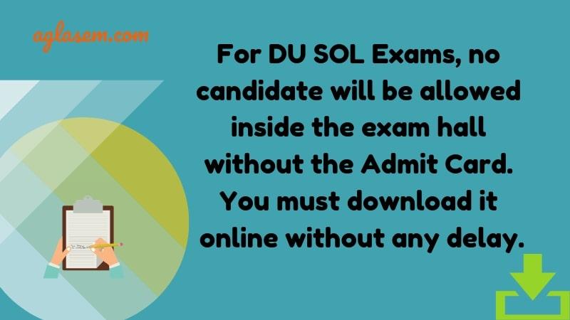 DU SOL Hall Ticket Download