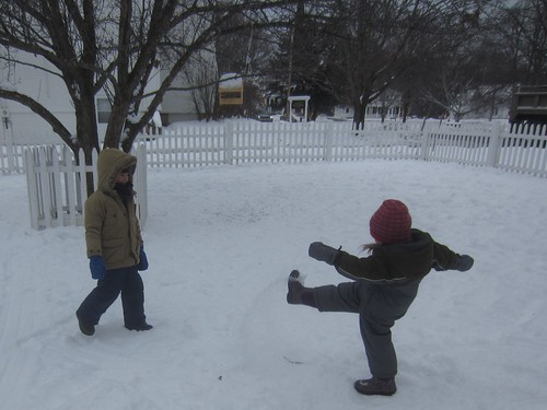 snow kicking battle
