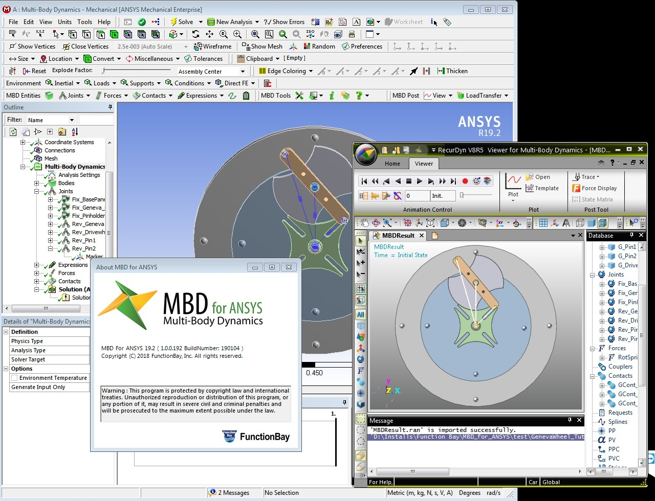 Working with FunctionBay Multi-Body Dynamics for ANSYS 19.2 full