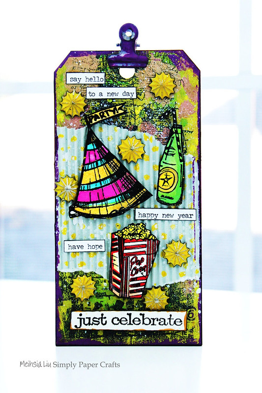 Meihsia Liu Simply Paper Crafts Mixed Media Tag New Year Party Simon Says Stamp Tim Holtz