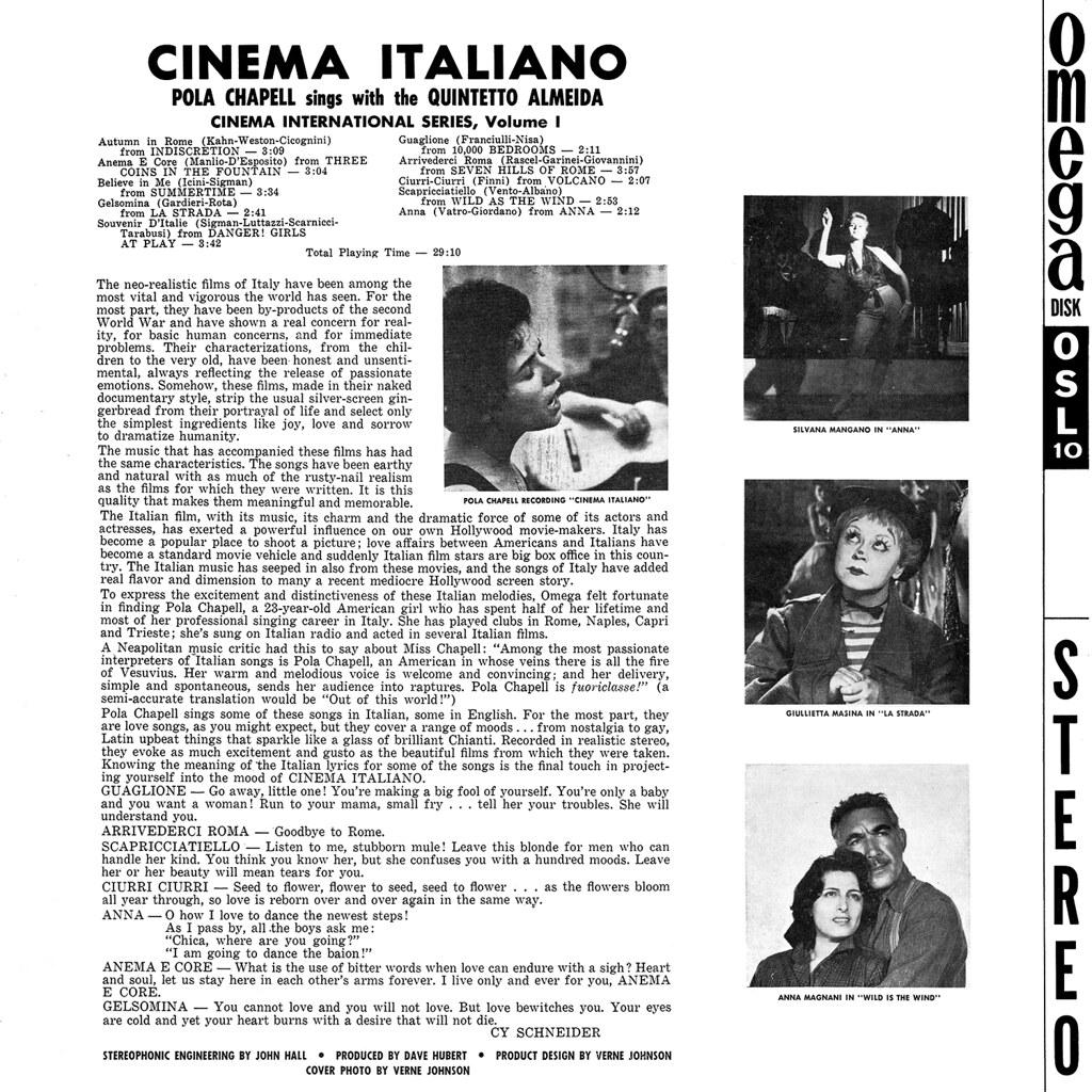 Pola Chapell, Quintetto Almeida - Cinema Italiano