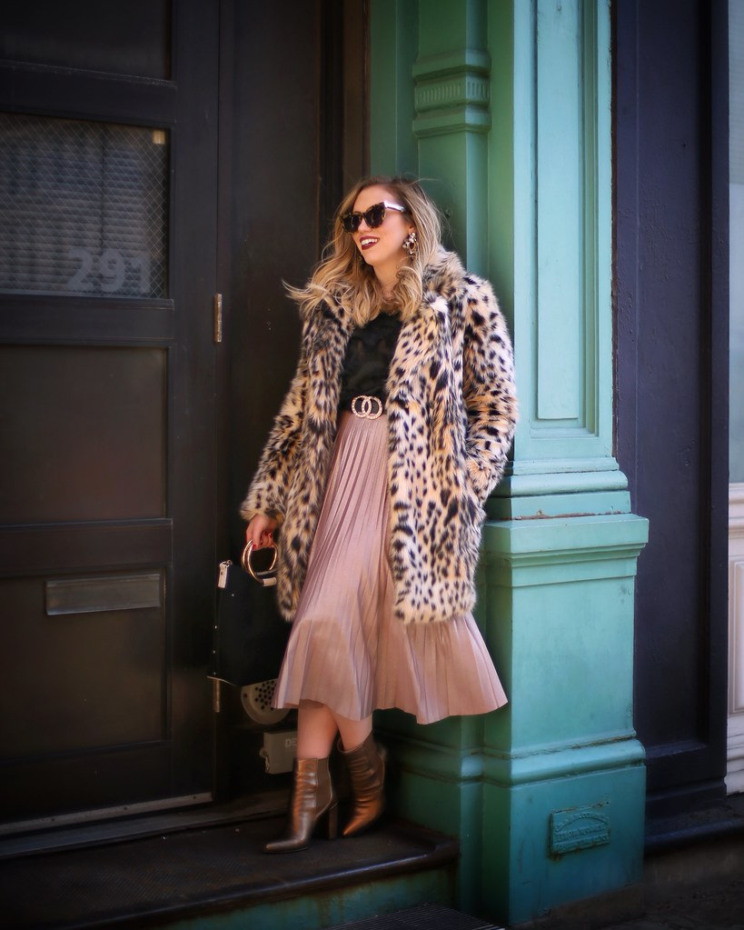 NYFW Outfit Leopard Faux Fur Coat Pleated Pink Midi Skirt