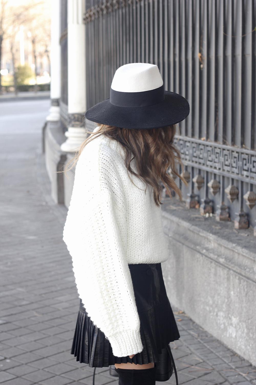 black pleated skirt  white sweater louis vuitton bag street style inspiration 20198