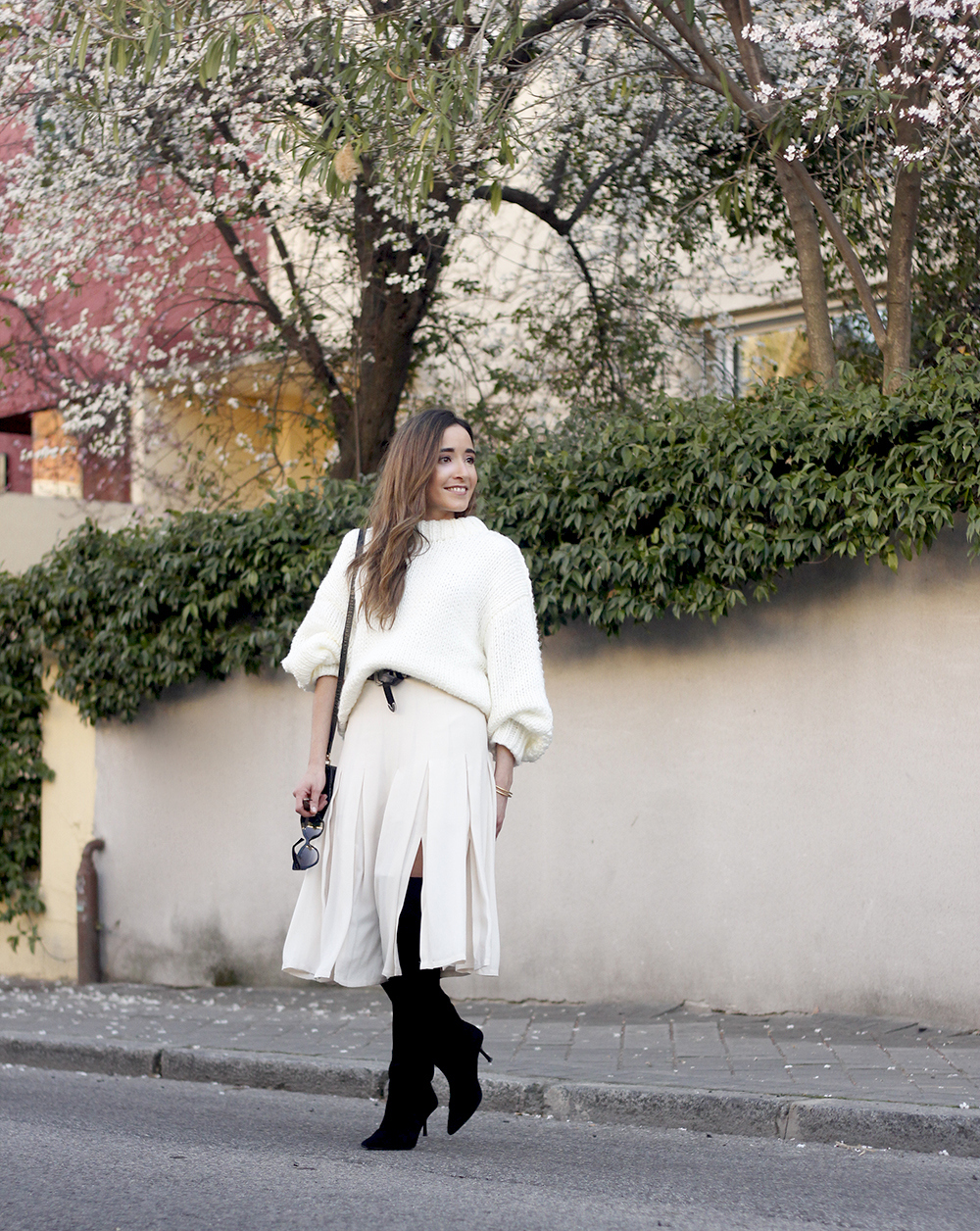 pink pale midi skirt white sweater black boots givenchy bag street style outfit 201911