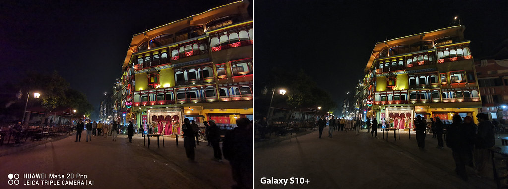 Mate 20 vs Galaxy S10+: Shot of Food Street with ultra- Wide Angle