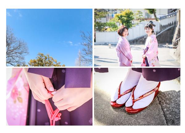 ピンクの着物 紫の袴 草履 青空