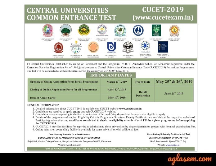CUCET 2019 - Answer Key, Result, Participating Institutes