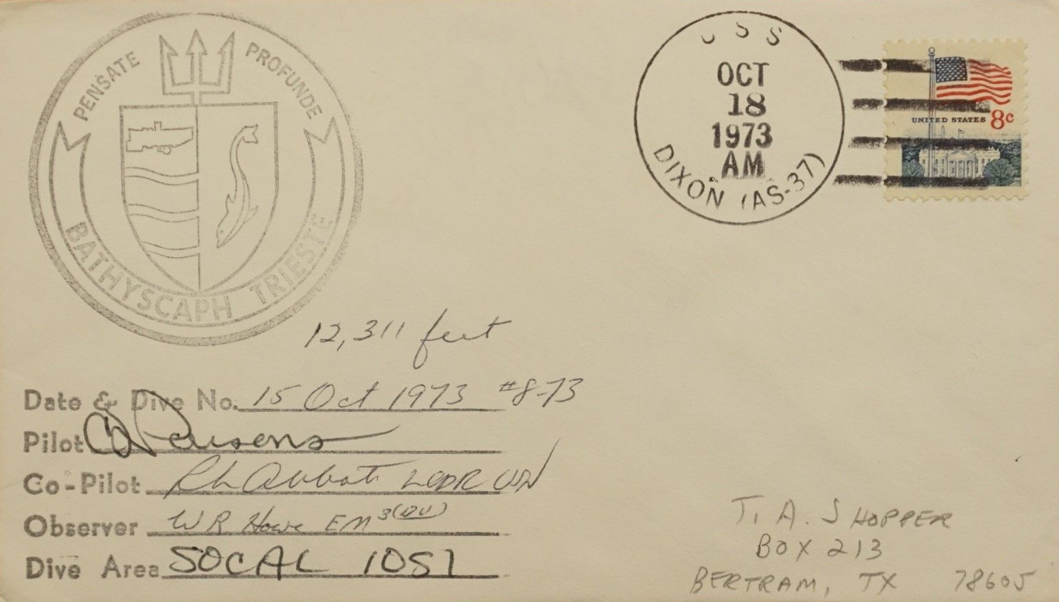Cover from a 1973 dive off Southern California to a depth of 12,311 feet.