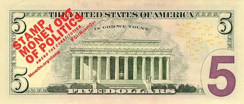 Stamp Money out of Politics overstamp on $5 bill