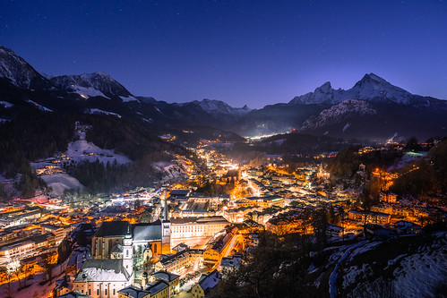 View over Bechtesgaden at Night from Lockstein from Toni Hoffmann