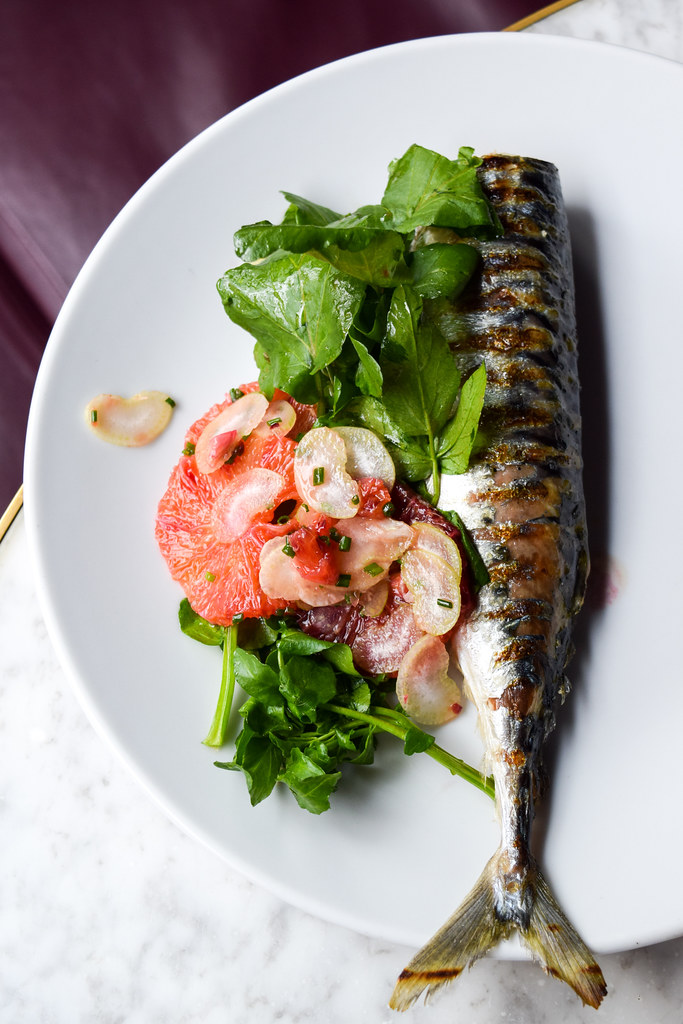 Grilled Mackerel with Fennel & Blood Orange Salad at Noble Rot, Bloomsbury