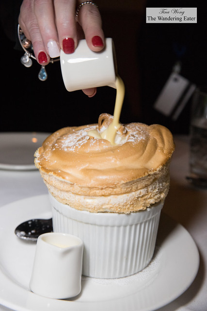 Grand Marnier soufflé with crème anglaise sauce