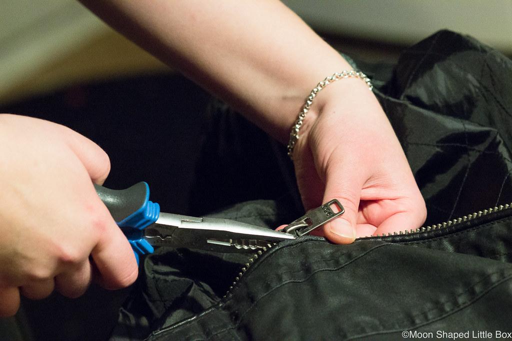 Vetoketjun korjaaminen, vetskarin korjaus, vetimen kiristäminen, vetoketjun lukon kiristäminen