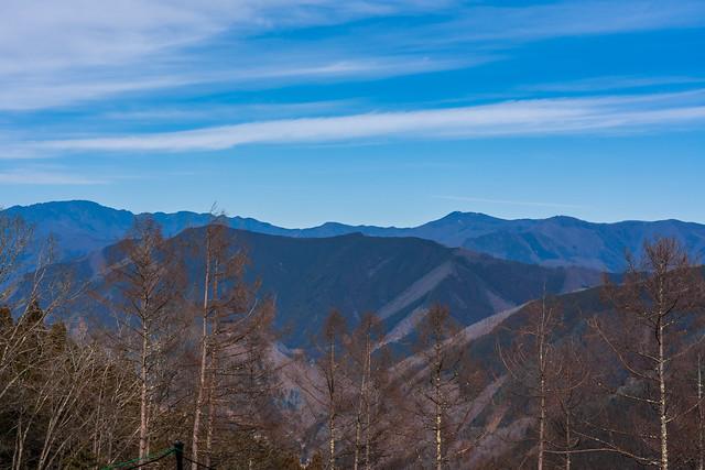 飛龍山と雲取山、、手前に大きく鹿倉山