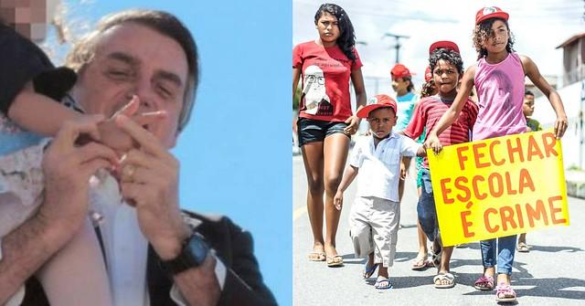 Bolsonaro força mão de criança para fazer arminha e crianças protestam contra fechamento de escola: qual causou mais escândalo para Record? - Créditos: Colagem/Reprodução