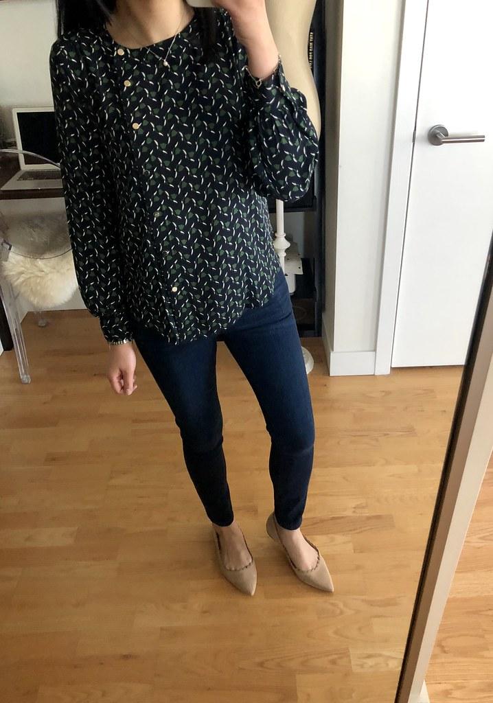 Ann Taylor Tulip Asymmetric Snap Blouse, size XXSP