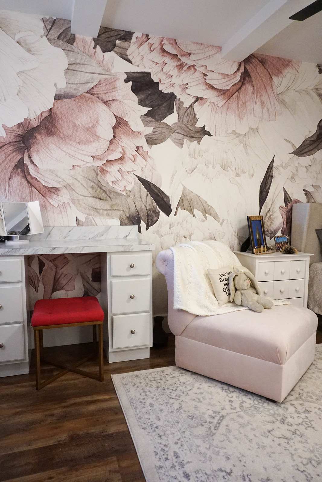 Anewall Blush Bouquet Wallpaper Mural Anthropologie White Vanity Pink Velvet Chair Girly Bedroom