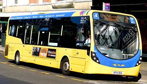 HF14 BXA 'Yellow Buses' No. 869 'mid blue 4'. Wright Streetlite D/F on Dennis Basford's railsroadsrunways.blogspot.co.uk'