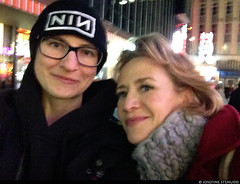 """20170105_i09 Me & Janet McTeer (... I think) by the stage door of the Booth Theatre, where she was doing """"Les liaisons dangereuses"""" 